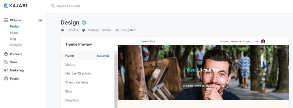 plateforme formation en ligne kajabi