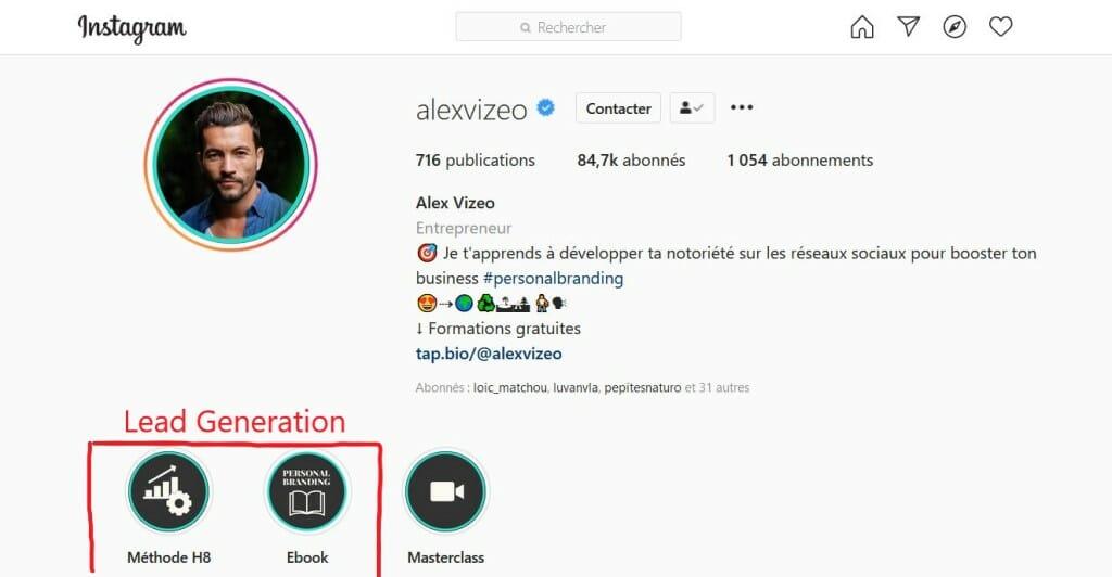 acquisition lead instagram alex vizeo