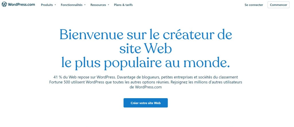 page acceuil wordpress