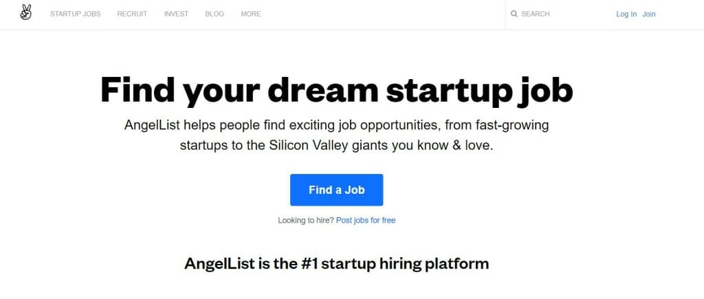 angelco page acceuil startup job