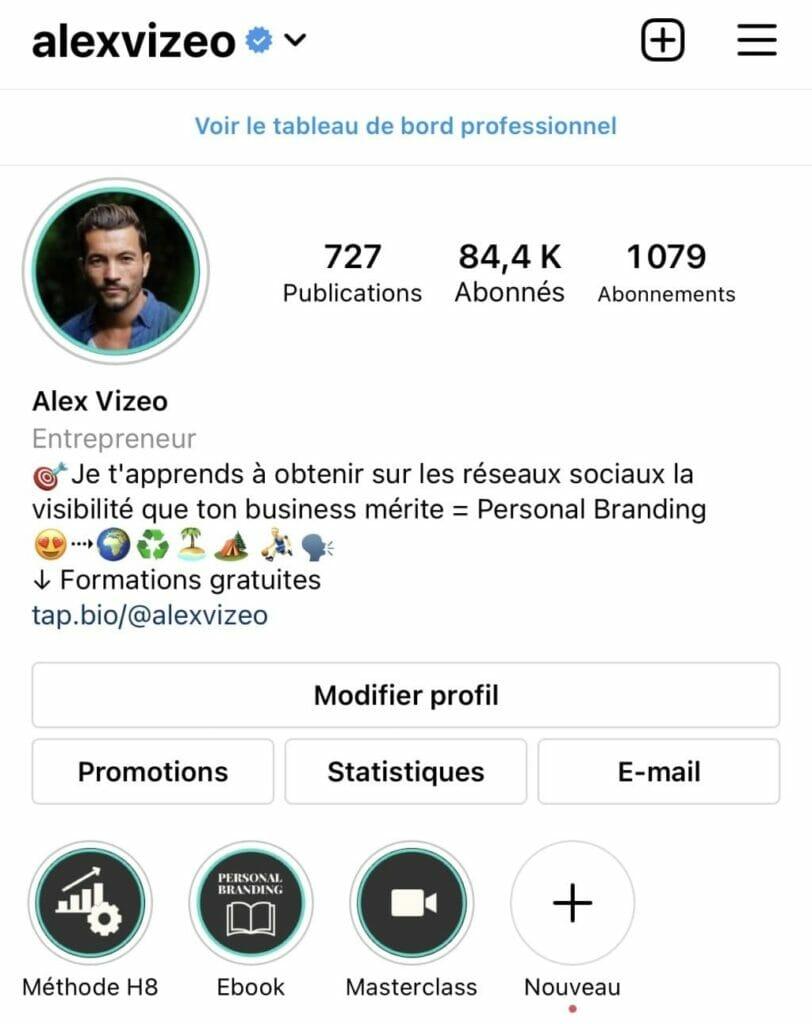 bio instagram alexvizeo