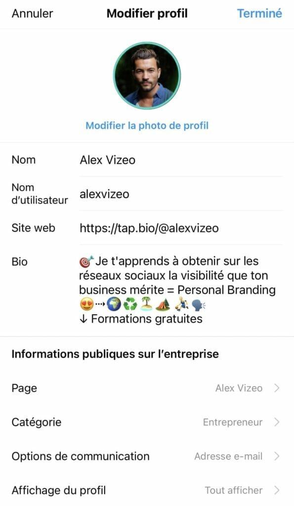 inserer lien bio instagram alexvizeo