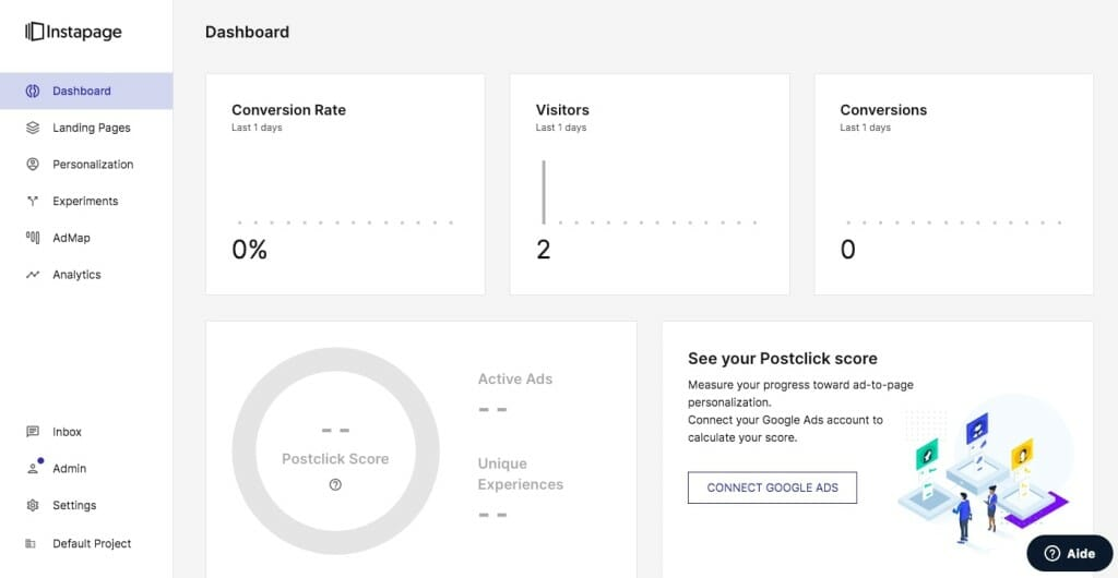 instapage outil landing page dashboard tableau bord