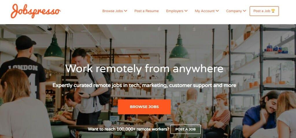 jobspresso plateforme full remote