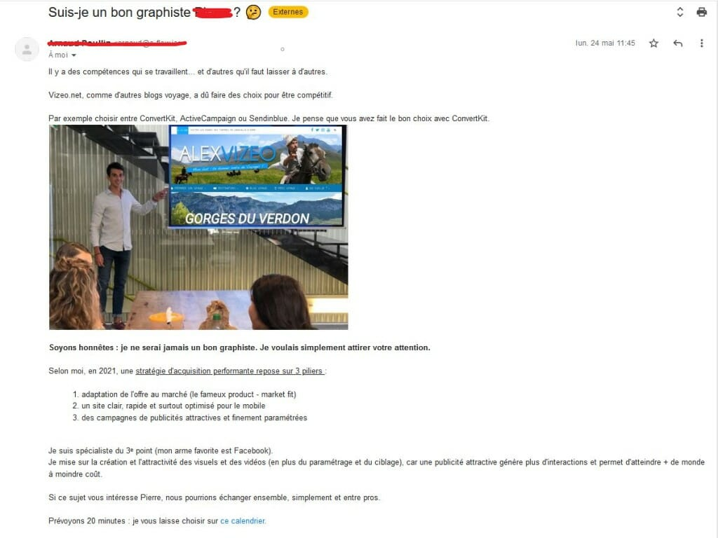 cold email exemple