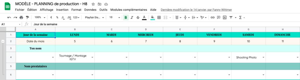 planning production modele methode h8