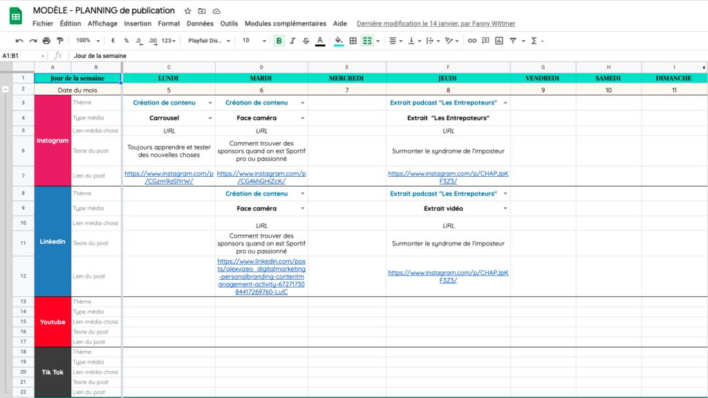 calendrier editorial reseaux sociaux google sheets gratuit