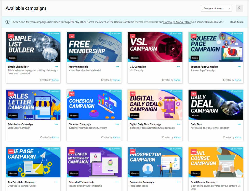 configurer campagnes marketing kartra