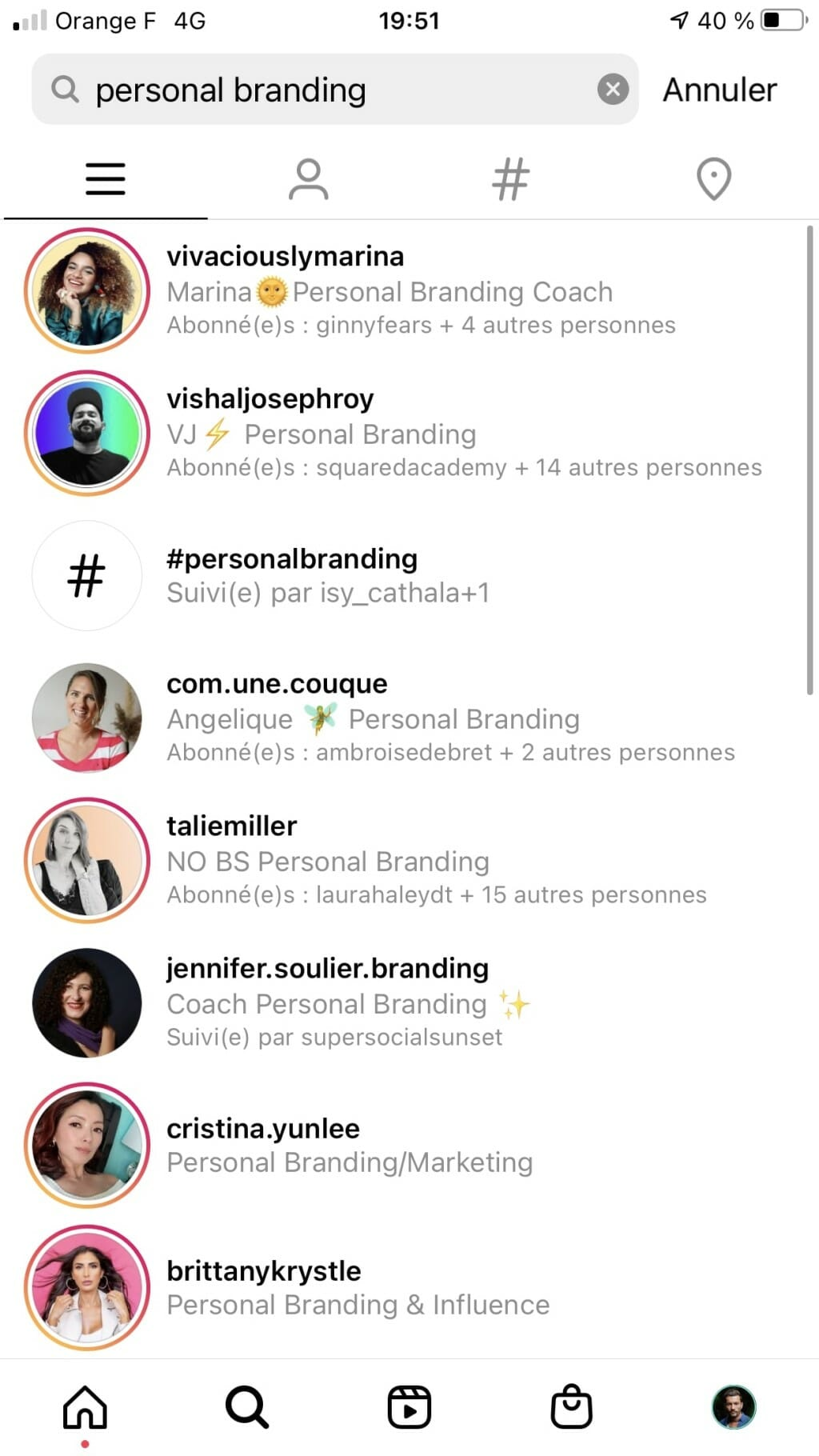 suggestion instagram compte associes
