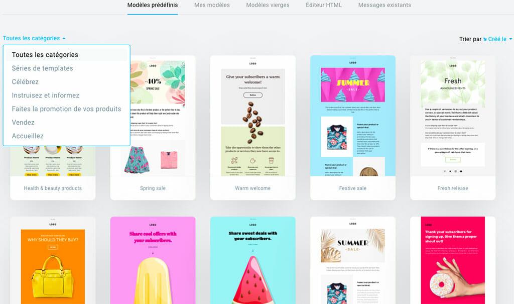 liste template Getresponse